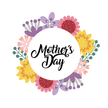happy mothers day card with beautiful  wreath of flowers over white background. colorful design. vector illustration Illustration