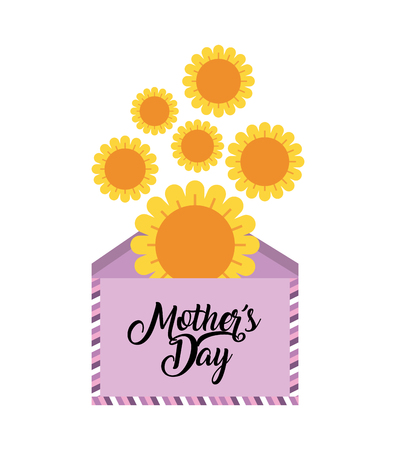 happy mothers day card with envelope and yellow flowers over white background. colorful design. vector illustration
