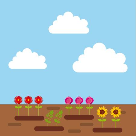 flowers and plants growing. colorful design. vector illustration