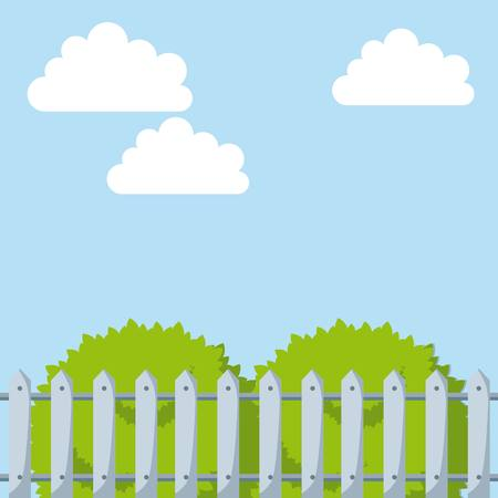white fence and green bushes over sky background. colorful design. vector illustration