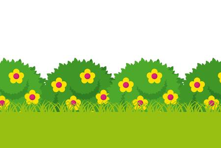 bushes with beautiful flowers. colorful design. vector illustration