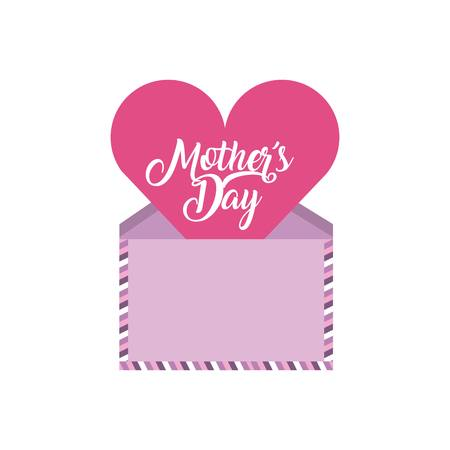 happy mothers day card with envelope and heart icon over white background. colorful design. vector illustration Illustration