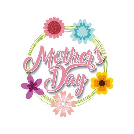 happy mothers day card with flowers over white background. colorful design. vector illustration Illustration