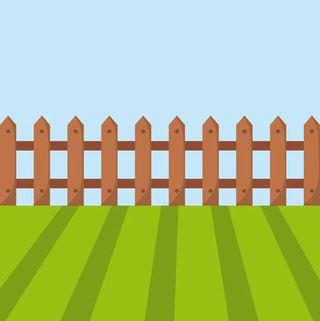 wooden fence and green grass. colorful design. vector illustration
