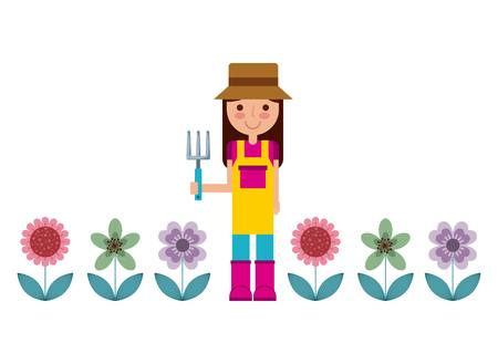 gardener woman icon over white background. colorful design. vector illustration