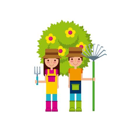 couple of gardeners over white background. colorful design. vector illustration