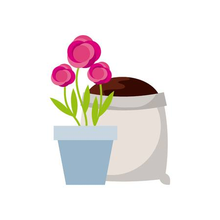 beautiful flower in a pot and soil bag icon over white background. colorful design. vector illustration