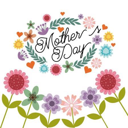 白い背景の上の花で幸せな母親日カード。カラフルなデザイン。ベクトル図