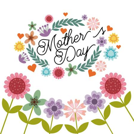 happy mothers day card with flowers over white background. colorful design. vector illustration Иллюстрация
