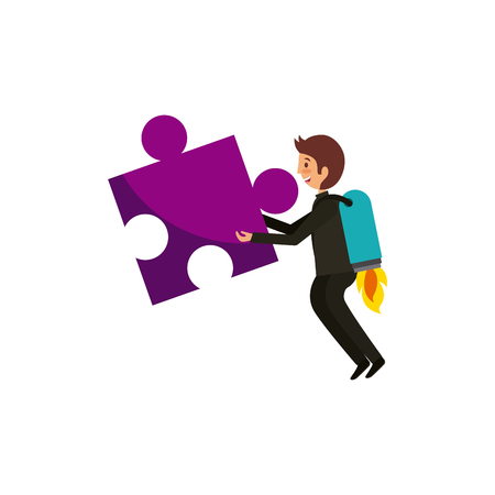 Man with jigsaw puzzle over white background. colorful design. teamwork concept. vector illustration