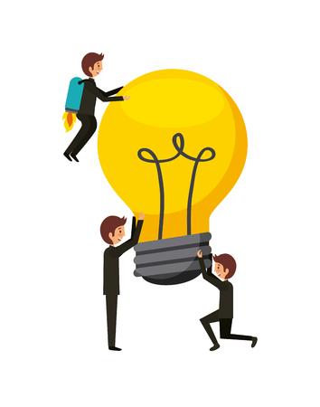 men with bulb light over white background. colorful design. teamwork concept. vector illustration