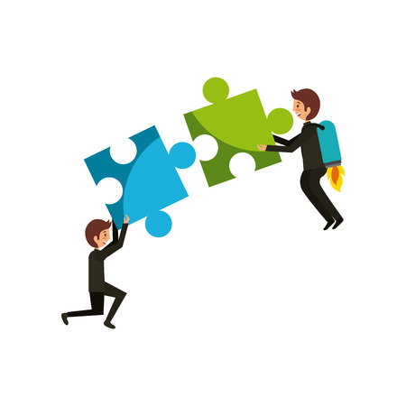 men with jigsaw puzzles over white background. colorful design. vector illustration