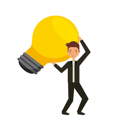 man holding a bulb light icon over white background. teamwork concept. colorful design. vector illustration