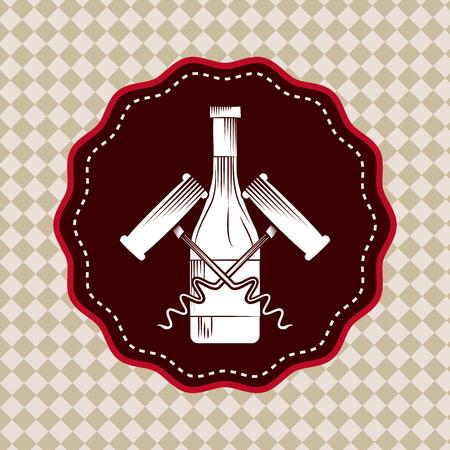 seal stamp with wine bottle and corkscrews. colorful design. vector illustration