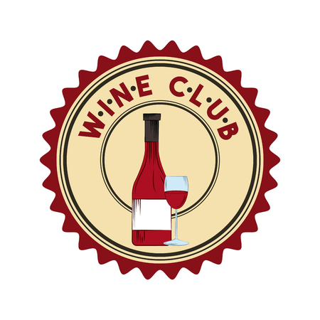 seal stamp with wine bottle and wineglass over white background. colorful design. vector illustration