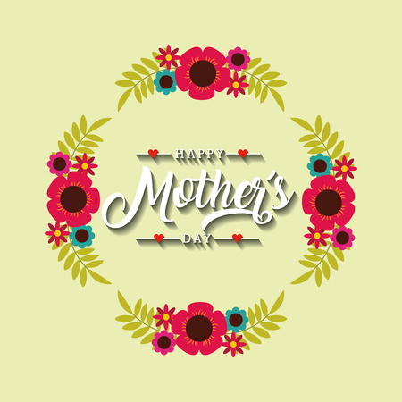 happy mothers day card with wreath of flowers over white background. colorful design. vector illustration