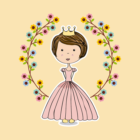 elegant woman: wreath of flowers and pink princess icon over yellow background. colorful design. vector illustration