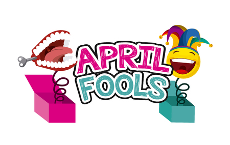 april fools day related icons over white background. colorful design. vector illustration Çizim