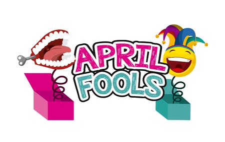 April Narren Tag verwandte Symbole über weißem Hintergrund. Buntes Design. Vektor-Illustration Standard-Bild - 73969644