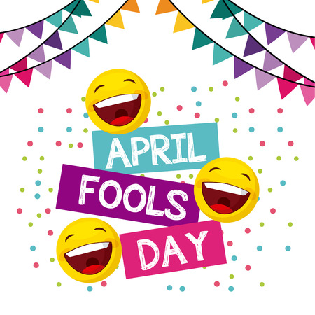 april fools day card with happy faces over white background. colorful design. vector illustration
