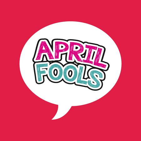 4 월 바보 하루 카드 빨간색 배경 위에. 화려한 디자인입니다. 벡터 일러스트 레이 션