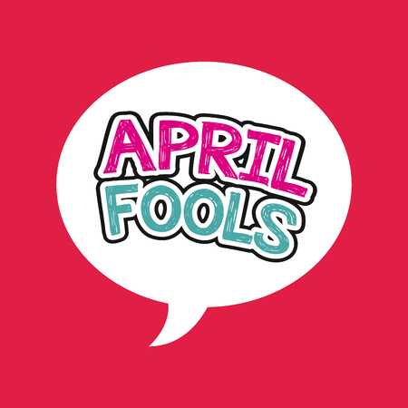 april fools day card over red background. colorful design. vector illustration
