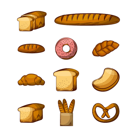 bakery products icon set over white background. colorful design. vector illustration Illustration