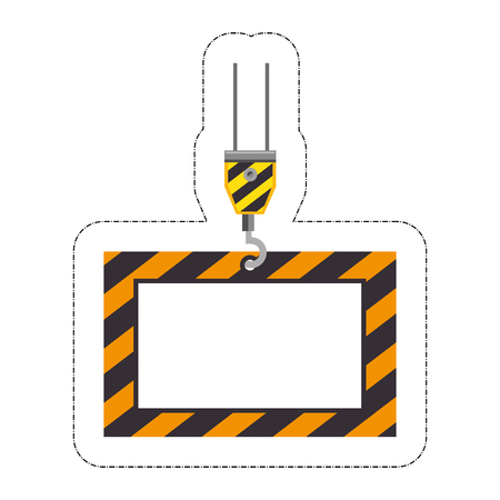 crane with box icon over white background. under construction design. vector illustration Illustration
