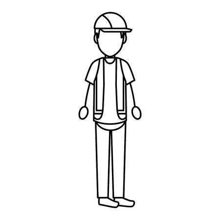 under construction worker icon over white background. vector illustration