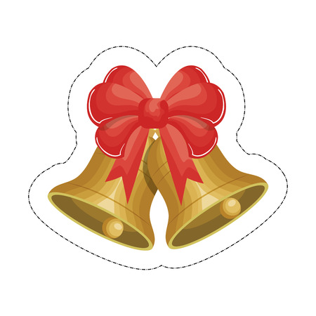 bells with a decorative bow icon over white background. vector illustration