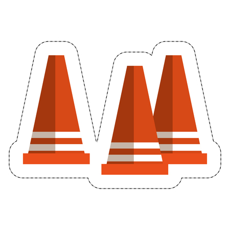 Caution cones icon over white background. vector illustration.