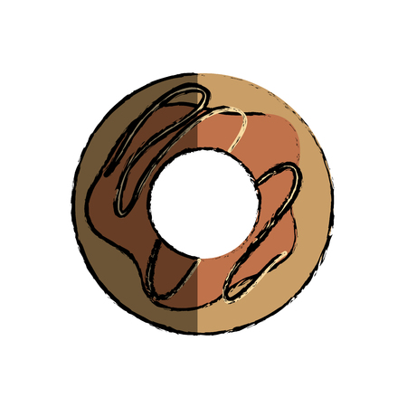 sweet donut icon over white background. colorful design. vector illustration