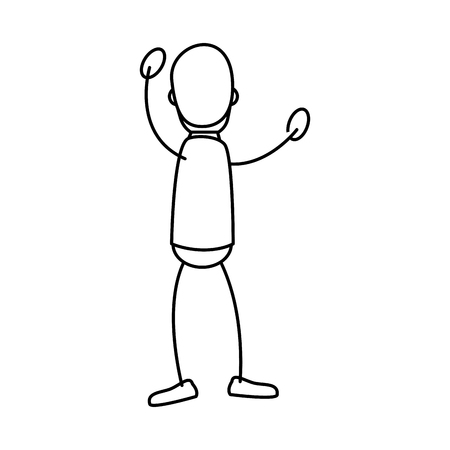 draw of Human figure of man expressing himself over white background. vector illustration