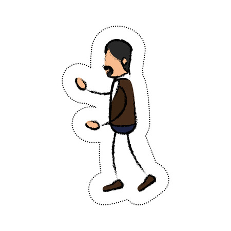 draw of Human figure of man expressing himself over white background. colorful design. vector illustration