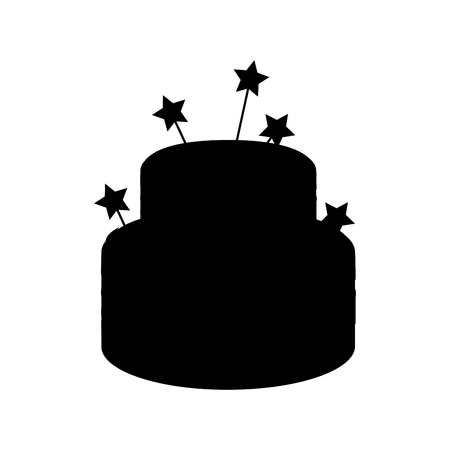 silhouette of birthday cake with candles icon over white background. vector illustration