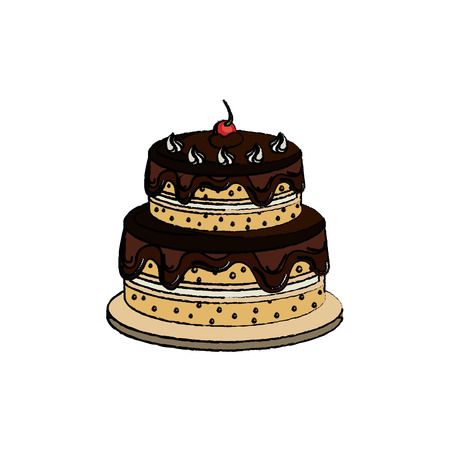 birthday cake with candles icon over white background. colorful design. vector illustration Illustration