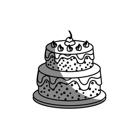 sweet cake icon over white background. vector illustration