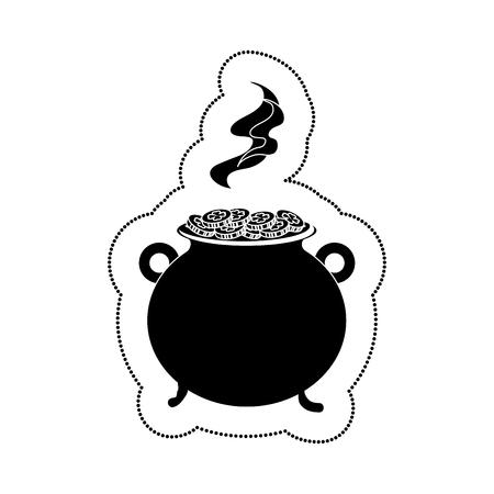 cauldron with money icon vector illustration design