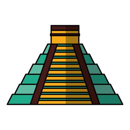 Pirámide maya icono aislado diseño de ilustración vectorial