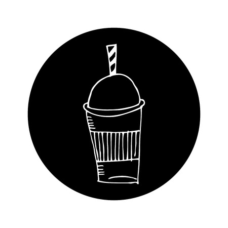 ice coffee glass drawing icon vector illustration design
