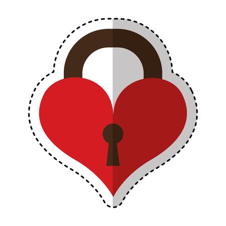 Herz Vorhängeschloss isoliert Symbol Vektor-Illustration Design