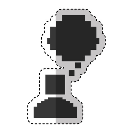pixelated avatar character with speech bubble vector illustration design