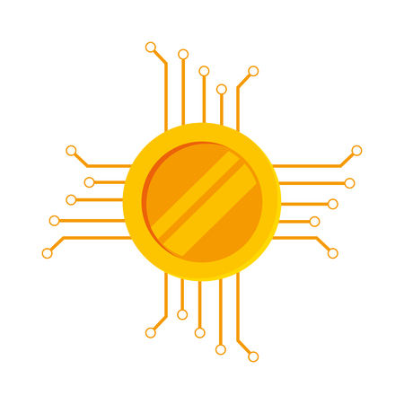 processors: coin with circuit electric icon vector illustration design