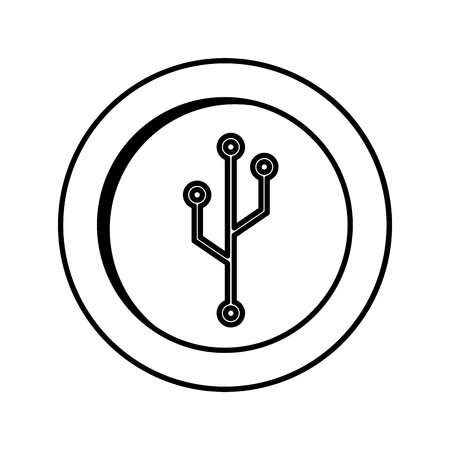 microprocessor: coin with circuit electric icon vector illustration design