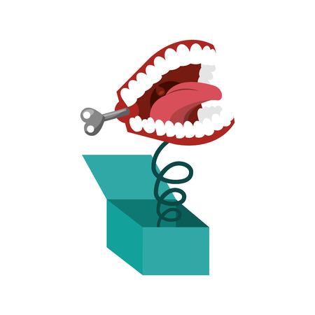 scatola a sorpresa con la progettazione divertente dell'illustrazione di vettore dell'icona dei denti di scherzo Vettoriali