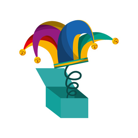 surprise box: surprise box with harlequin hat isolated icon vector illustration design