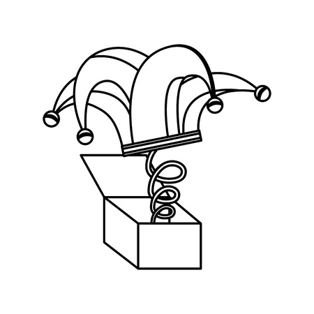 surprise box with harlequin hat isolated icon vector illustration design