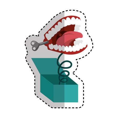 scatola a sorpresa con la progettazione divertente dell'illustrazione di vettore dell'icona dei denti di scherzo