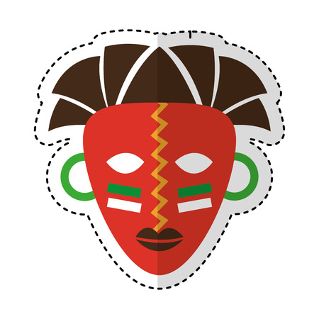 maschera africana icona etnica illustrazione vettoriale illustrazione Vettoriali