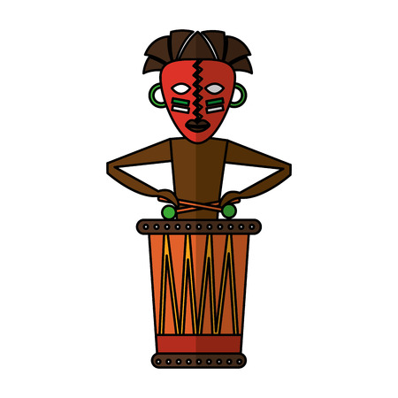 Native african playing the drum vector illustration design